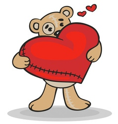 Teddy bear with big heart vector