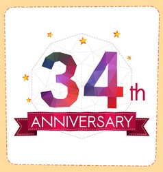 Colorful polygonal anniversary logo 2 034 vector