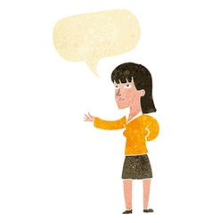 Cartoon woman explaining with speech bubble vector