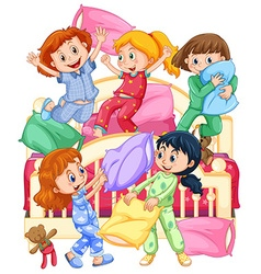 Girls playing pillow fight at slumber party vector