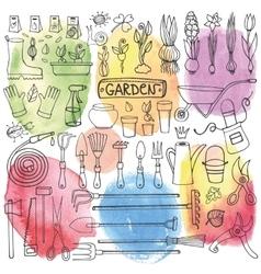 Spring garden doodle setToolsplantsWatercolor vector image