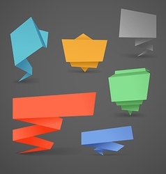 Colorful polygonal origami banners set Place your vector image