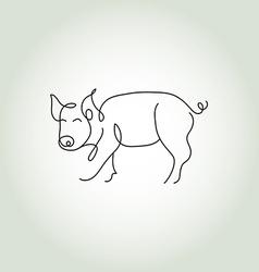 Pig line art vector image