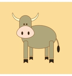 Flat icon on background kids toy cow vector