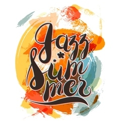 Hashtag Jazz Summer Lettering on Spot Background vector image
