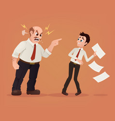 Angry boss character yelling employee office vector