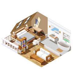 Apartment interior isometric composition vector