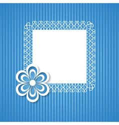blue background with a frame and a paper flower vector image vector image