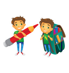 Boys with big school bags set vector