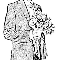 bridegroom with flowers vector image