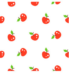 Bright summer juicy apple red cartoon seamless vector