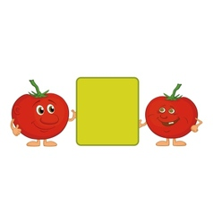 Character tomatoes and poster vector image vector image