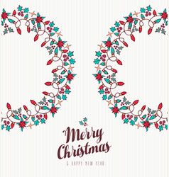 christmas and new year hand drawn wreath ornament vector image