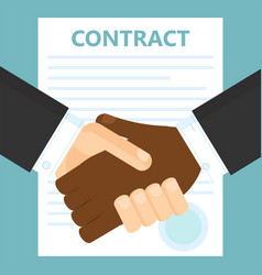 Conclusion of a contract two men shake hands vector