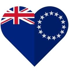Cook Islands flat heart flag vector image vector image