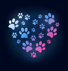creative heart with dog or cat paw prints vector image