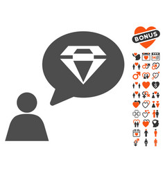 diamond thinking person icon with love bonus vector image