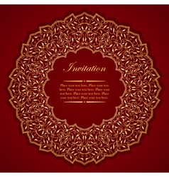 Elegant invitation card with round gold ornament vector image