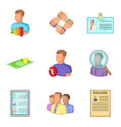 Expert icons set cartoon style vector