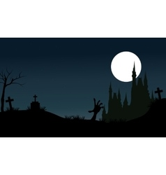 Halloween scary castle silhouette vector