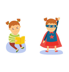 little girl reading and wearing superhero costume vector image vector image