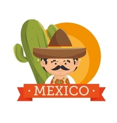mexican man hat design vector image