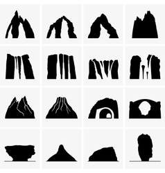 Mountains waterfalls volcanoes islands vector image