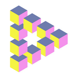 Optical triangle with cubes vector