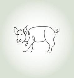 Pig line art vector image vector image