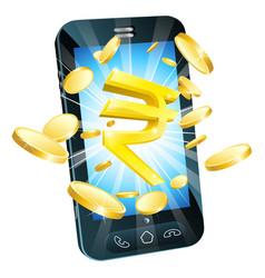 Rupee money phone concept vector