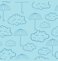 seamless pattern with cute sleeping clouds and vector image vector image