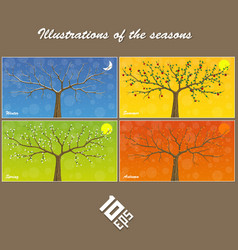 Seasons are suspended on clothespin vector