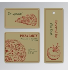 Set of cards templates for pizza party vector