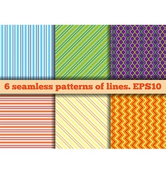 Set of seamless patterns of lines vector