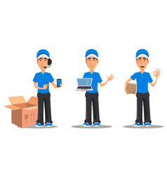 Set of smiling delivery man in blue uniform vector