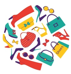 Shoes and bags vector image vector image
