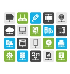 Silhouette computer network and internet icons vector