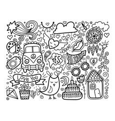 sketch doodle love set black and white elements vector image vector image
