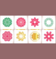Snowflake symbols set snowflakes isolate vector