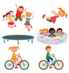 Summer children activities vector image vector image