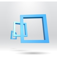 Three blue rectangular 3D frames vector image vector image