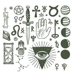 Trendy esoteric symbols sketch hand drawn vector