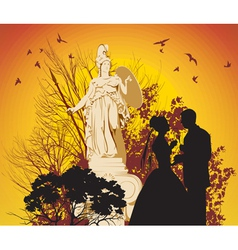wedding couple and the Greek goddess vector image vector image
