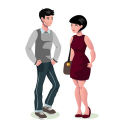 young cartoon couple in love vector image vector image