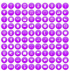 100 kettlebell icons set purple vector