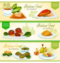 Italian food and mediterranean cuisine banners vector
