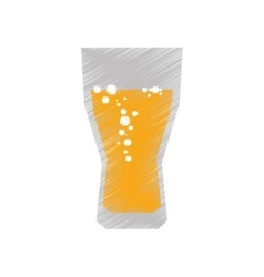 drawing colored glass cup beer bubbles vector image