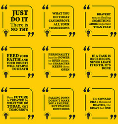 Set of motivational quotes about action bravery vector