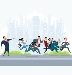 Many businessmen hurry vector