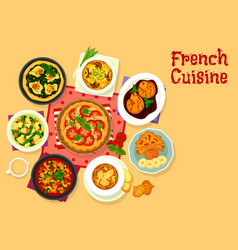 French cuisine tasty dinner icon for food design vector